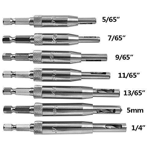 7 Stück Tür selbst zentrieren Scharnier Bohrer Bits gesetzt, Schrank Pilot Löcher Hss Hex Shank Holzbearbeitung DIY-Tools (5/64