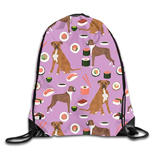 Drawstring Backpack Bags Boxer Dog Sushi Themed Dogs Purple Sport Athletic Gym Sackpack for Men Women