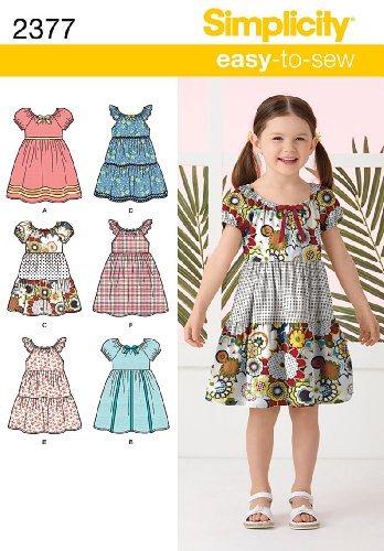 Simplicity Schnittmuster 2377 Kinder Kleider Gr. 30-38 Tiered Kleid