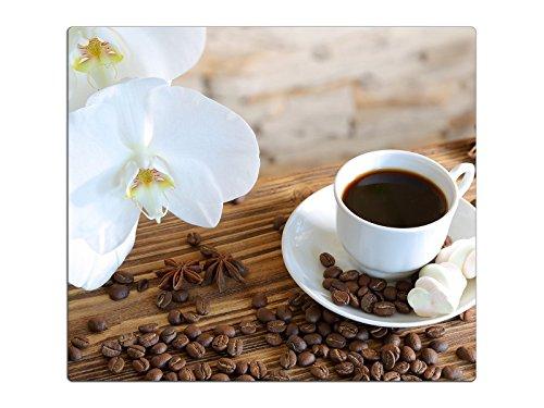 Herdabdeckplatte Schneidebrett Spritzschutz aus Glas, Multi-Talent HA63333630 Orchidee Kaffee Variante Einteilig (1 Panel) (Kaffee-glas-schneidebrett)