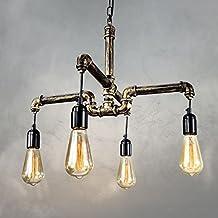 QJJ Loft rural Creative Restaurant bar lumineux Cafe salon Rétro lumières Vent industriel Chaulet à eau chandelier ( taille : 4 Head-58*88cm )