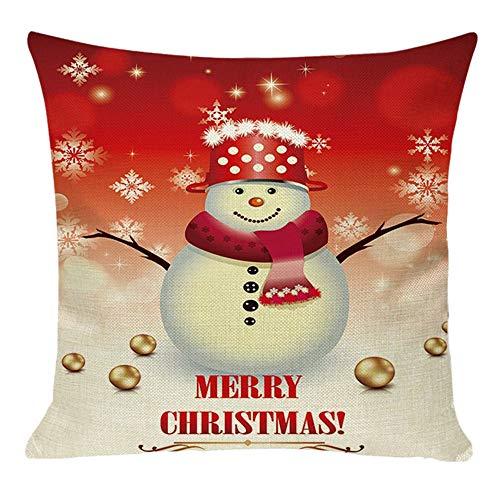 Kissenbezug Merry Christmas bettwäsche deko Kissenbezug Elch Weihnachtsmann Glocke Elf Rentier Rudolph Weihnachtsmann Sofa kissenhuelle 45x45cm(H) ()