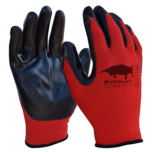 5 paia di Bullwork PowerGrip ad alta presa | guanti da lavoro misura 9 | copertura in gomma nitrilica|certificate EN388:4131
