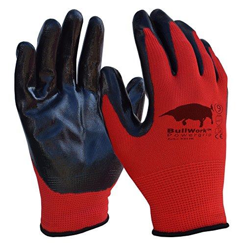 garten handschuhe 5er Sparset | Original Bullwork PowerGrip | Arbeitshandschuhe Gr.9 | Latexbeschichtung EN388:4131