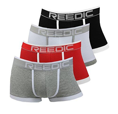 Reedic Herren Boxershorts Baumwolle 4er Pack, Größe Large (L), Farbe je 1x schwarz, Weiss, rot, grauweiss