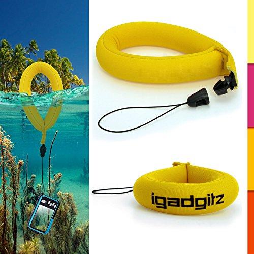 igadgitz-1-pack-giallo-impermeabile-galleggiante-schiuma-cinturino-da-polso-per-nikon-1-aw1-coolpix-
