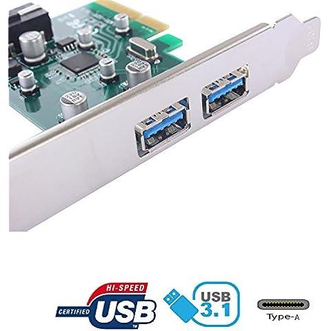 tinxi® USB 3.1 tipo A Tarjeta de expansión de 2 puertos, interfaz USB 3.1-A-2 puertos PCI-Express Card