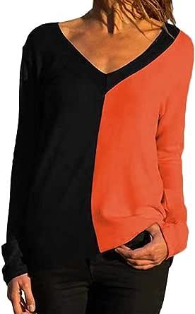 TIFIY Maglietta Donna,Taglia Grossa Camicia a Maniche Lunghe con Scollo a v Donna t-Shirt Casual Donna Plus Size Camicetta di Moda Top in Patchwork di Colore Shirts