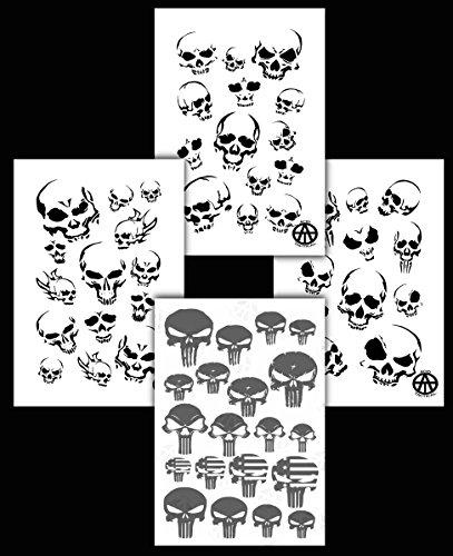 Säure Tactical® 4Stück Camouflage Spray Paint Camo Gun Schablonen selbstklebend & Mylar Punisher & Skulls (Punisher Camo)