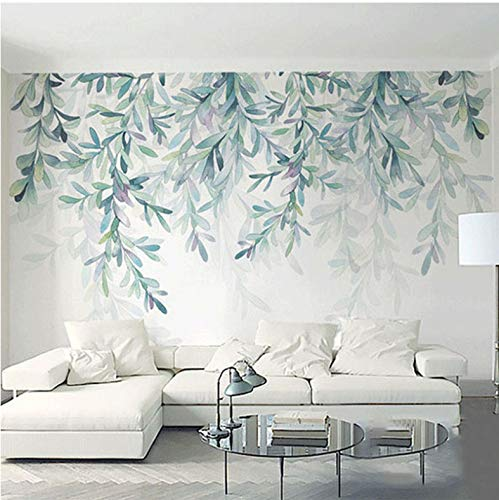 Wallpaperphoto Wallpaper Modern Green Leaves Watercolor Nordic Style Mural Wall Paper Living Room 1 ㎡ -