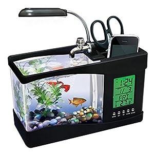 MFEIR Usb desktop aquarium Mini fish tank water pump light calendar alarm clock Black (Color: Black,White