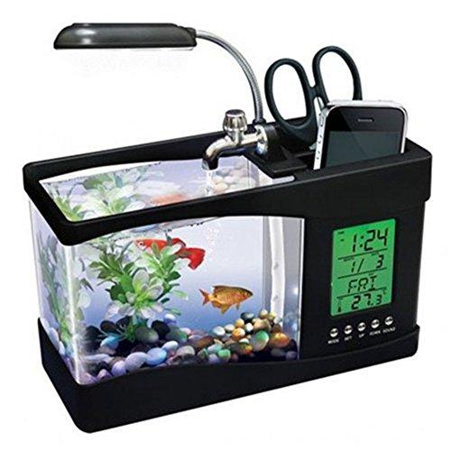 MFEIR Aquarium klein mini USB Zierfisch oekologisch Fischglas,Schwarz