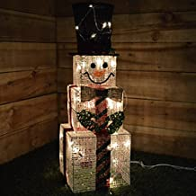 Kingfisher Decoración de Navidad en Forma de muñeco de Nieve Cuadrado con Luces Interiores, ...