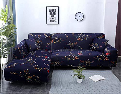 ZZZXX Sofabezug Abdeckung Sofa-Überwürfe Stretch-Stoff Blume Vogel Muster Elastischen Stuhl Loveseat Couch Sofa 1-Teiliger Hundeschutz, Schwarz Verzierte Blume -