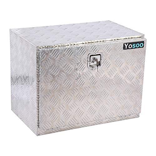 SOULONG Boîte de Rangement à Outils en Aluminium Robuste Caisse à Outils Métallique 60 x 40 x 46.5 cm pour Remorque, Camion, Autobus