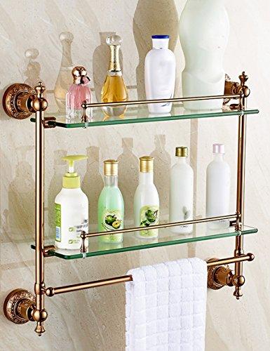 Salle de bains étagères or européen de acier inoxydable étagères de verre étagères de salle de bains tocadores mural 540*150*250mm 3