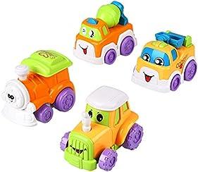 Peradix Set 4 Macchinine per Bambini Locomotiva Betoniera Trattore Camioncino Gioco Prima Infanzia