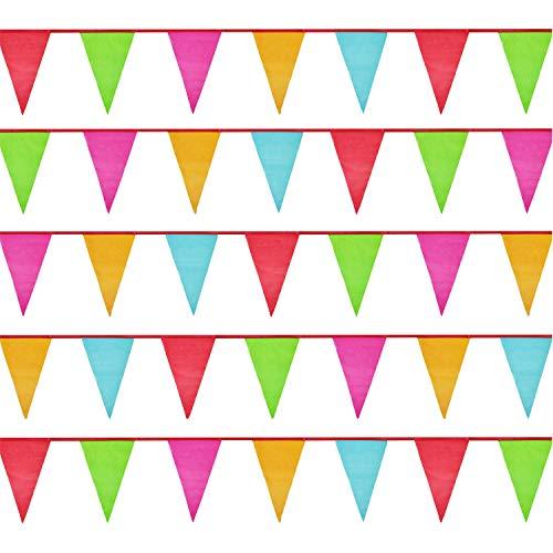 Große Wimpel (34*23cm),50 Meter Mehrfarbig Wimpelkette,Nylon Stoff Bunting Banner für Geburtstag, Hochzeit,Outdoor,Indoor Aktivität,Party Dekoration ()