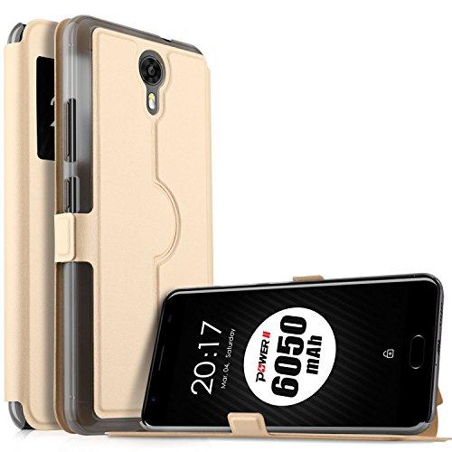 Ulefone Power 2 Hülle, KuGi Ulefone Power 2 Premium PU Leder Kasten für Ulefone Power 2 Smartphone (Golden)