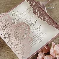PARTECIPAZIONI matrimonio fai da te SET anniversario fidanzamento compleanni battesimo DIY rosa cipria taglio laser nastro buste CONFEZIONE di 50 pezzi