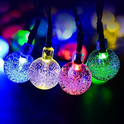 GDEALER Solar Lichterkette Durchsichtig Kugel Lights Christmas Dekoration Solarbetrieben 6m 30 LED Wasserdict für Outdoor Party, Haus Dekoration, Hochzeit, Weihnachten, Feier Festakt (RGB) - 6