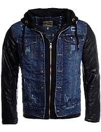 Young & Rich Veste d'hiver  vintage en jean - bleu foncé, avec manches en cuir synthétique + capuche