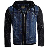 Young & Rich Herren 2in1 Jeans Jacke gefüttert Kontrast blau schwarz mit Kunstleder Ärmeln Kapuze vintage used destroyed double layer Look, Grösse:M
