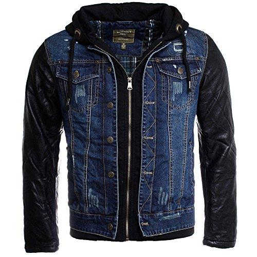 Young & Rich Herren 2in1 Jeans Jacke gefüttert Kontrast blau schwarz mit Kunstleder Ärmeln Kapuze vintage used destroyed double layer Look, Grösse:XXL