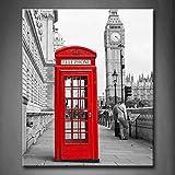 Schwarz Und Weiß & Rot Rot Telefon Stand Und Groß Ben Im London Street Wandkunst Malerei Das Bild Druck Auf Leinwand Stadt Kunstwerk Bilder Für Zuhause Büro Moderne Dekoration