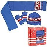 adidas K Gift Set Geschenk Set Handschuhe Mütze Schal Kids Boys blau W64935, Bekleidungsgröße:S