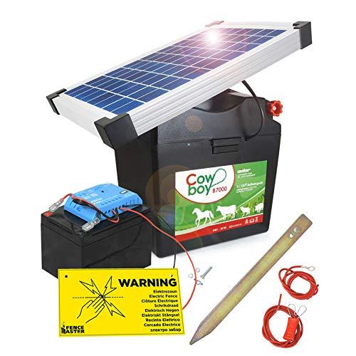 Koll Living Weidezaungerät Cowboy B7000 - mit 12V Akku & 10 Watt Solarmodul - nahezu wartungsfrei - Akku Wird über die Sonne wiederaufgeladen - Made in Germany - Nie Wieder Batterie Laden !