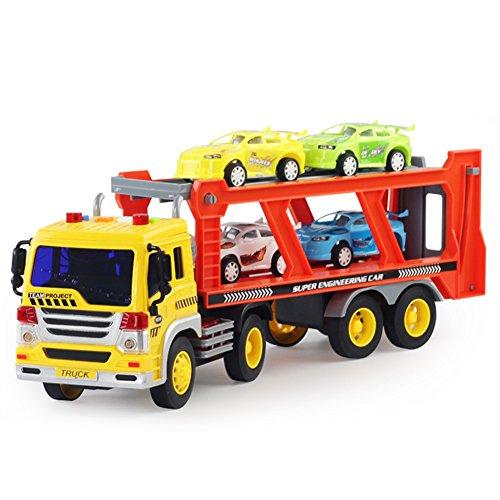 Per Transporteur de Voitures Remorque Enfant Jouet Camion Sonore et Lumineux avec Miniature Voiture 1:16