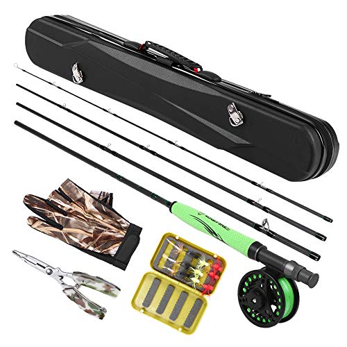 Lixada Angelrute Set Tragbar Fliegenfischen Kohlefaser Angelrute und Angelrolle Combos Angelhandschuhe Zange 12 Fliegt mit Tragetasche