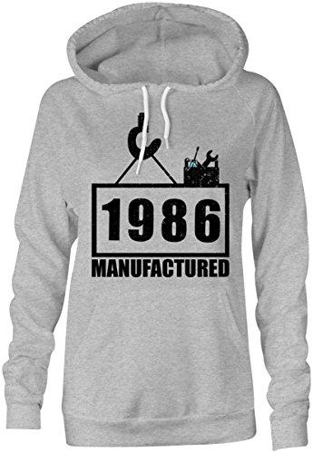 Manufactured 1986 - Hoodie Kapuzen-Pullover Frauen-Damen - hochwertig bedruckt mit lustigem Spruch - Die perfekte Geschenk-Idee (05) grau-meliert