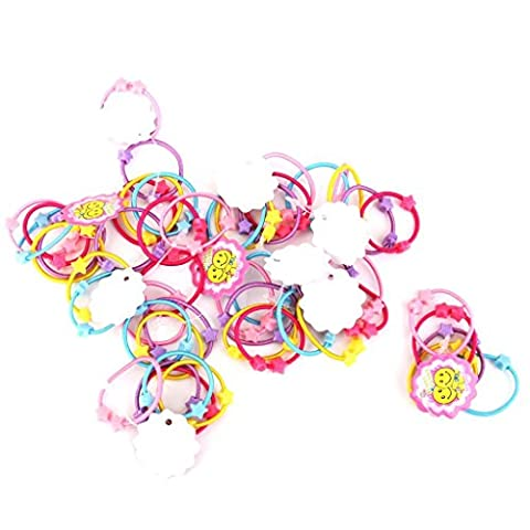 MA-on Approx.50pcs Elastic Hair Bands Tie Ponytail Hairband Star Beads Hair Ornaments