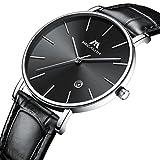 Herren Uhren Männer Minimalism Ultra Dünn Wasserdicht Sport Schwarz Leder Armbanduhr Business Mode Luxus Datum Kalender Analog Quarzwerk Uhr