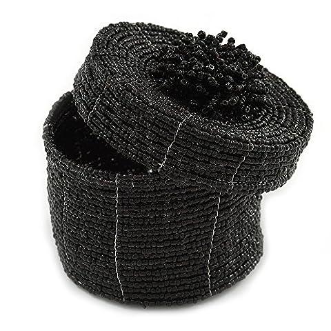 Armband/Ring/Anhänger/Ohrringe/Schmuck Set schwarz Glas Bead handgefertigt Box–75mm D/60mm H