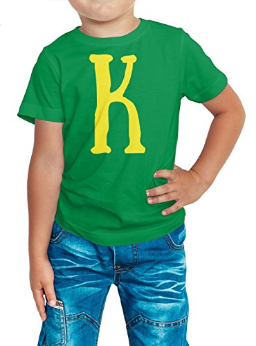 Anfangsbuchstabe K Premium T-Shirt | Name | Initial | Buchstabe | Kinder | Shirt, Farbe:Hellgrün (Kelly Green L190k);Größe:8 Jahre (118-128 cm)