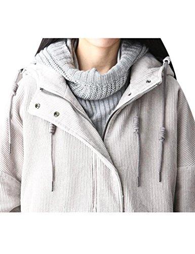 Youlee Femmes Fermeture éclair Velours Côtelé Manteau Avec Capuche Gris