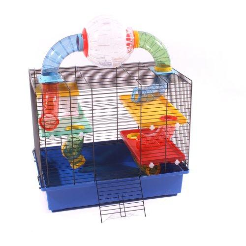 Hamsterkäfig Mäusekäfig Käfig INKLUSIVE LAUFBALL und umfangreicher Ausstattung OSKAR BLAU