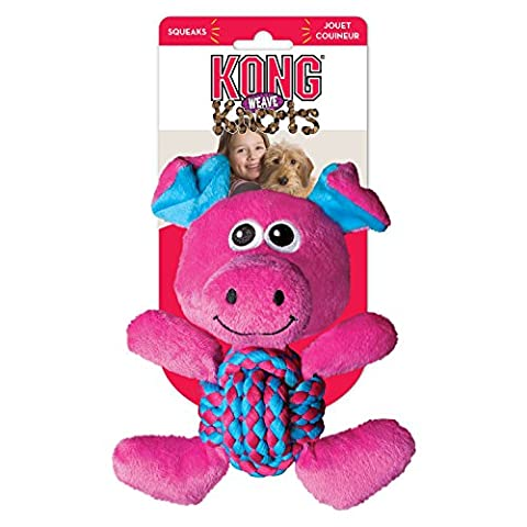 Kong Weave Knots Pig Cuddly Knotted Rope Bellies Interactive Dog Toy Medium