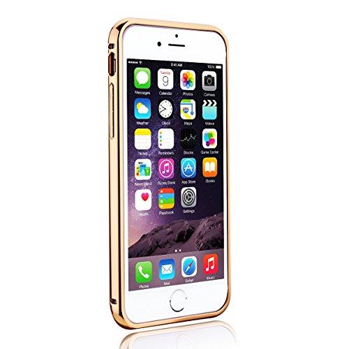Custodia per iPhone 6 / 6S ( 4.7 pollici ), HB-Int 3 in 1 Lusso Bumper Case Alluminio Metallo Caso Ultra Leggera Copertura Anti Graffi Protettivo Specchio Back Cover + Pennino + HD Protezione dello Sc Oro