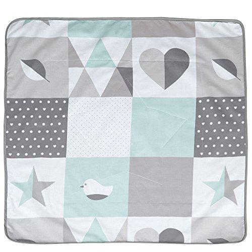 roba Babydecke 'Happy Patch mint', Decke zum Kuscheln, Krabbeln & Spielen, 2 seitig, 2 Funktionen: 1x super weich, warm & flauschig, 1 x 100% Baumwolle