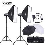 Andoer Kit d'éclairage Photo Studio 2 *300W Strobe Flash 2 *Stand de lumière 2 *Softbox 2 *Stand de lumière 1 *blanc parapluie lumineux 1 * réflecteur parapluie 1 *Flash Trigger 1 *sac