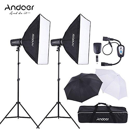 Andoer MD 300 600W (300W * 2) Estudio Kit de Iluminación Fotografía con Soporte de la Luz Softbox Unbrella Lambency Disparador de Flash Bolsa de Transporte