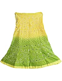 DollsofIndia Light Yellow With Light Green Tie And Dye Knee Length Skirt - Drawstring Waist Upto 37 Inches Length...