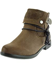 Angkorly - Zapatillas Moda Botines Cavalier Low Boots Mujer cocodrilo Tanga Acabado Costura Pespunte Tacón Ancho 3 CM…