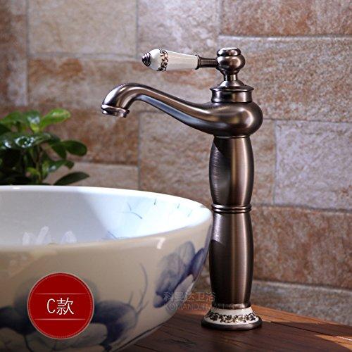 Cobre lleno grifo antiguo/Baño mezclador de lavabo/Sanitarios de porcelana china azul y blanco-C