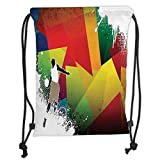 OQUYCZ Fashion Printed Drawstring Backpacks Bags,Basketball,Basketball Jump Background with Geometrical Shapes Paint Splashes Modern Art, Soft Satin,5 Liter Capacity,Adjustable String Closure,T