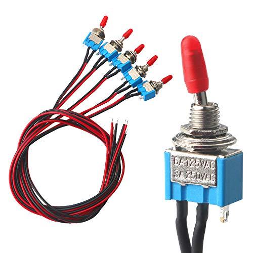 FULARR 5Pcs Profesional Coche Mini Interruptor Palanca con Precableado, ON-OFF 2 Posiciones...